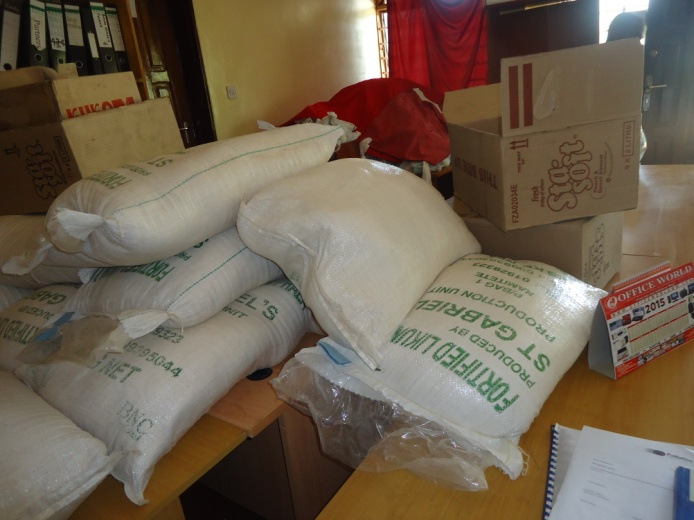 Bags of fortified flour.